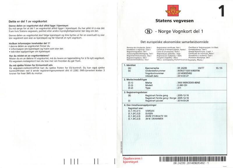 Vognkort Del 1 - Norweski Dowód rejestracyjny Część 1