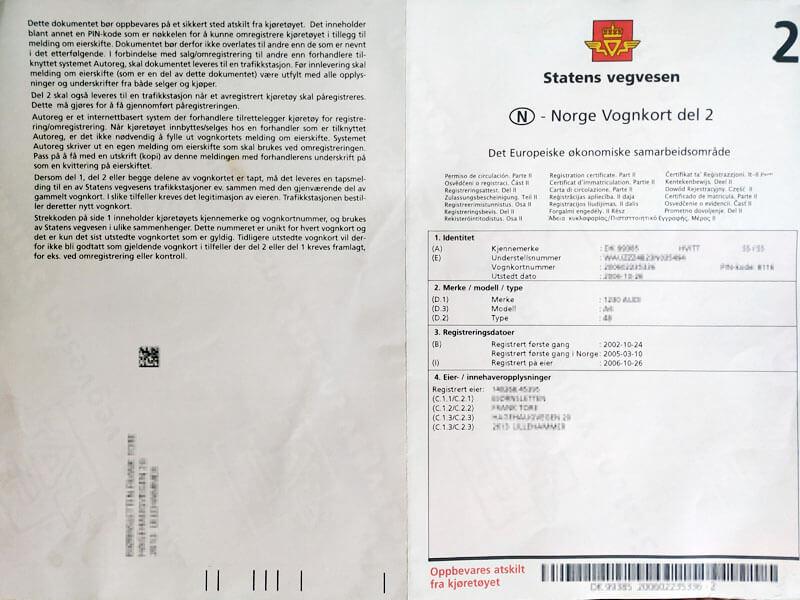 Vognkort Del 2 - Norweski Dowód rejestracyjny Część 2
