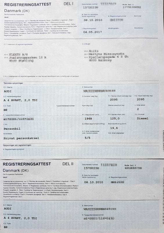 Registreringsattest tłumaczenie dowodu rejestracyjnego Dania