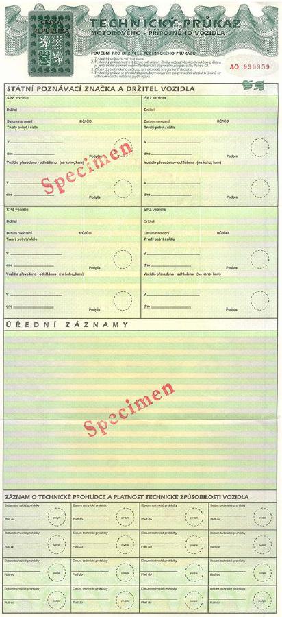 stary czeski dowód rejestracyjny tłumaczenie - awers