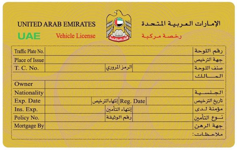 arabski dowód rejestracyjny z Emiratów