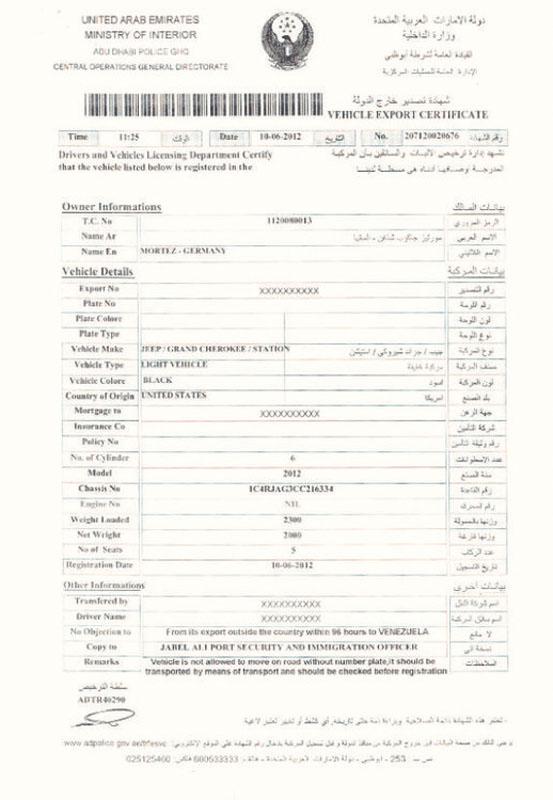 certyfikat exportowy z Emiraty Arabskich