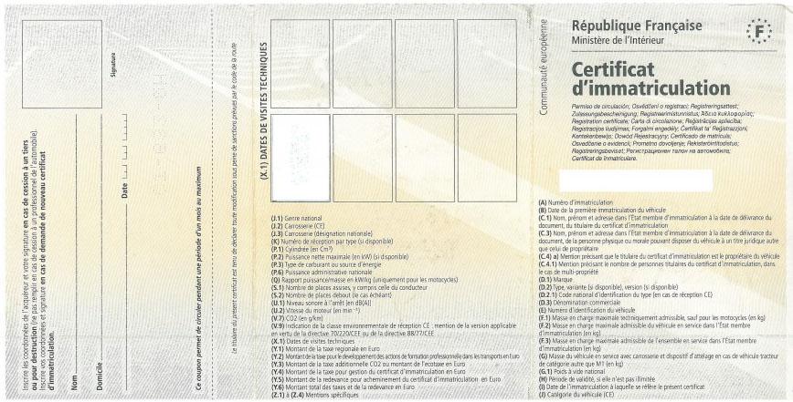 francuski dowód rejestracyjny tłumaczenie