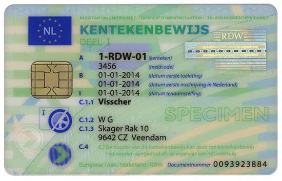 holenderski dowód rejestracyjny Kentekenbewijs