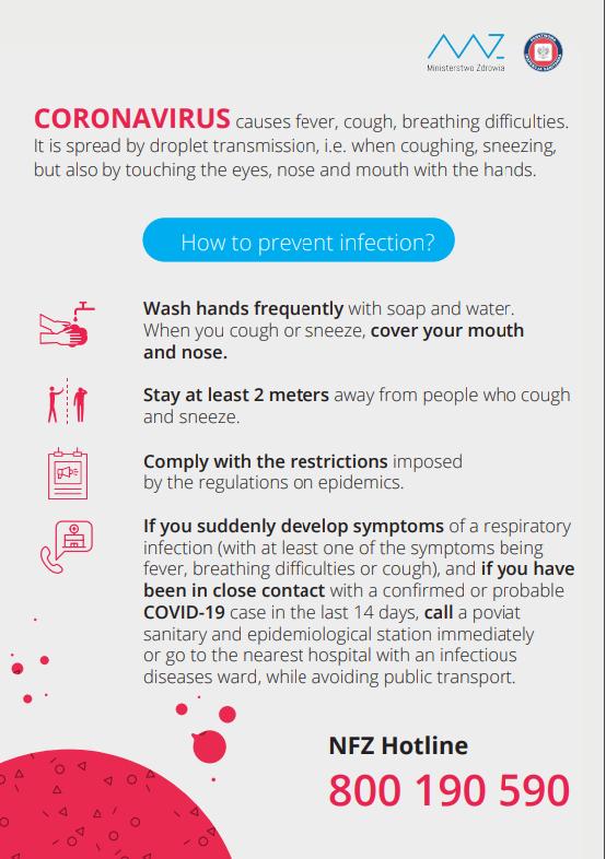 Informacje NFZ Koronawirus po angielsku