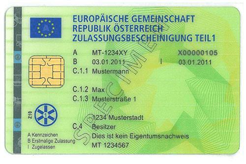 austriacki dowod rejestracyjny