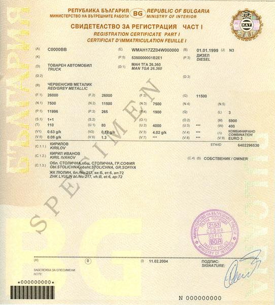 bulgarski dowod rejestracyjny