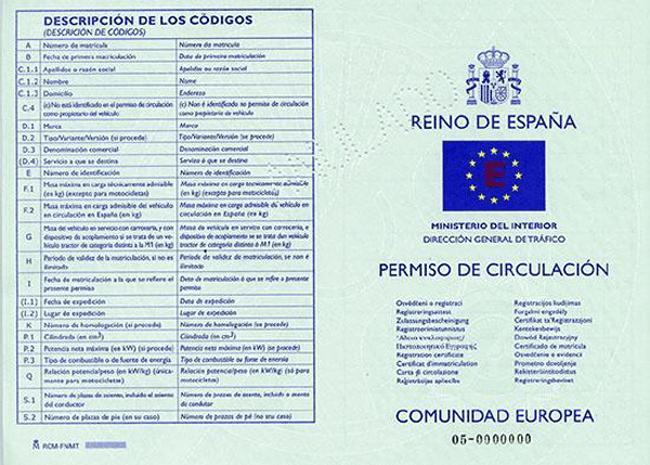hiszpanski dowod rejestracyjny