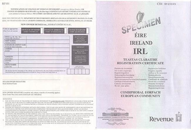 irlandzki dowod rejestracyjny