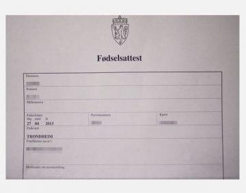 Fødselsattest - tłumaczenie akt urodzenia Norwegia
