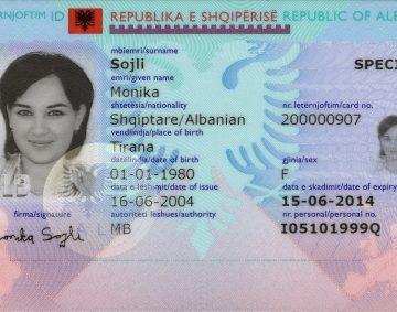 albanski dowód osobisty